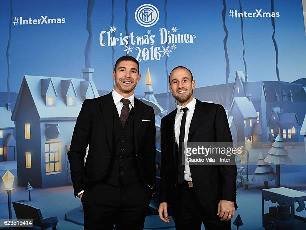 Juan Pablo Carrizo and Rodrigo Palacio pose for a photo during FC Internazionale Christmas Dinner on December 13 2016 in Milan Italy