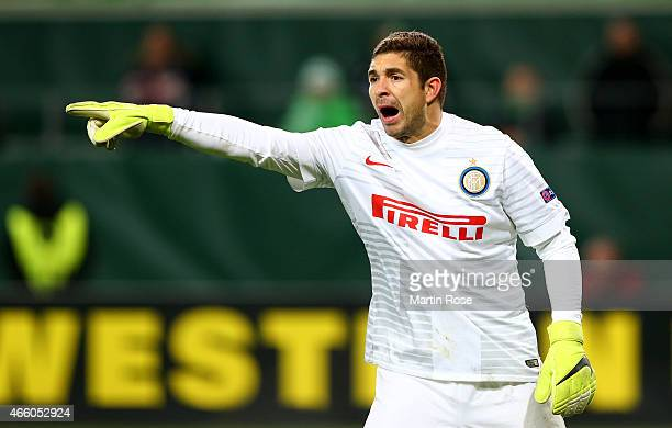 Juan Pablo Carrizo goalkeeper of Milano gestures during the UEFA Europa League Round of 16 first leg match between VfL Wolfsburg and FC...