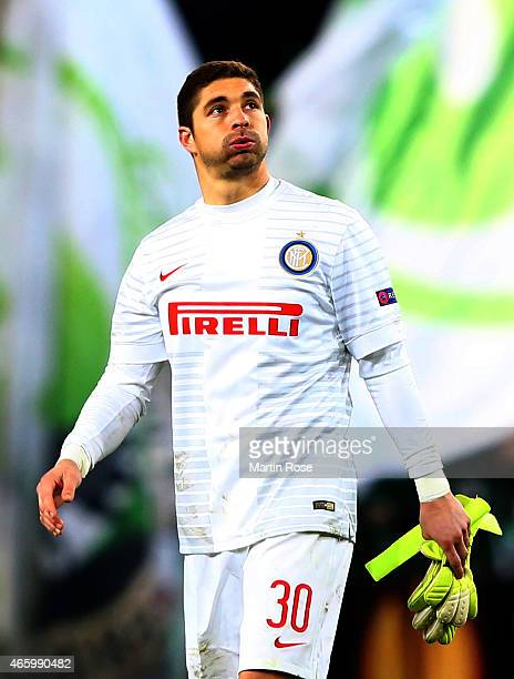 Juan Pablo Carrizo goalkeeper of Milano looks dejected after the UEFA Europa League Round of 16 first leg match between VfL Wolfsburg and FC...