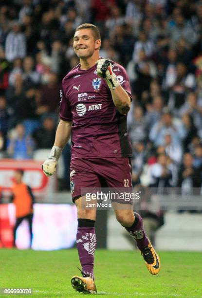 Juan Pablo Carrizo goalkeeper of Monterrey celebrates after saving a penalty kick in the penalty series during the round of sixteen match between...