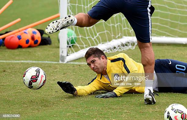 Juan Pablo Carrizo in action during a FC Internazionale Milano training session at Catholic University of America on August 01 2014 in Washington...