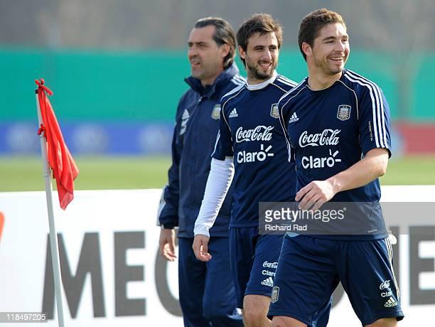 Juan Pablo Carrizo Nicolas Pareja and Sergio Batista after a training session at the Asociacion Argentina de Futbol facilities on July 08 2011 in...