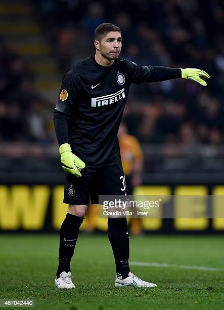 Juan Pablo Carrizo of FC Internazionale during the UEFA Europa League Round of 16 match between FC Internazionale Milano and VfL Wolfsburg at Stadio...
