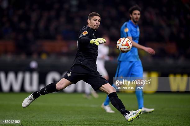 Juan Pablo Carrizo of FC Internazionale in action during the UEFA Europa League Round of 16 match between FC Internazionale Milano and VfL Wolfsburg...