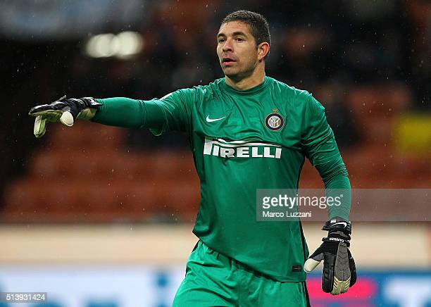 Juan Pablo Carrizo of FC Internazionale Milano gestures during the TIM Cup match between FC Internazionale Milano and Juventus FC at Stadio Giuseppe...