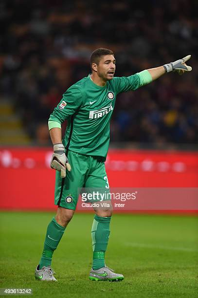 Juan Pablo Carrizo of FC Internazionale reacts during the Berlusconi Trophy match between AC Milan and FC Internazionale at Stadio Giuseppe Meazza on...