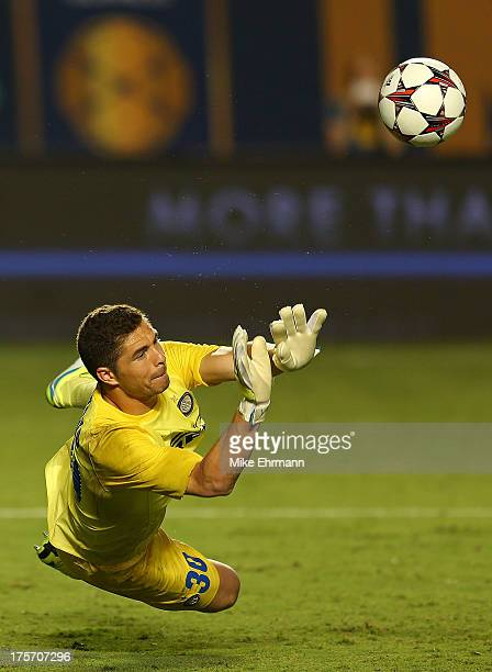 Juan Pablo Carrizo of Inter Milan makes a save during penalty kicks during an International Champions Cup Seventh Place Match against the Juventus at...