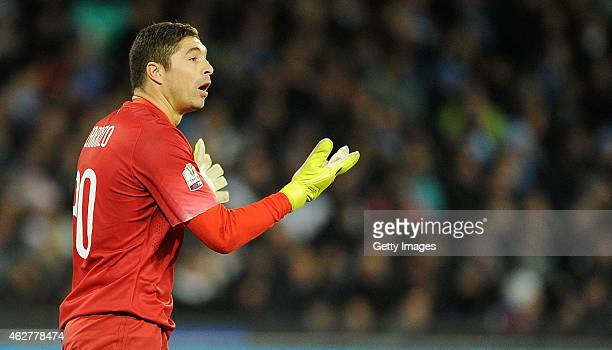 Juan Pablo Carrizo of Internazionale in action during the TIM CUP match between SSC Napoli and FC Internazionale at the San Paolo Stadium on February...