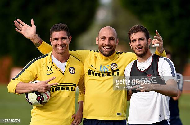 Juan Pablo Carrizo Tommaso Berni and Davide Santon celebrate during FC Internazionale training session at the club's training ground at Appiano...