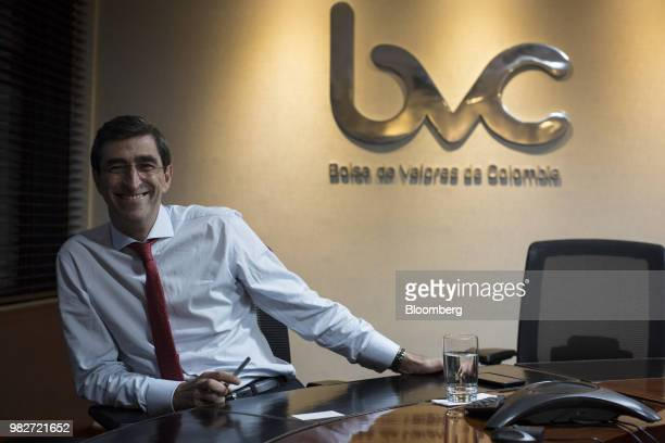 Juan Pablo Cordoba chief executive officer of Bolsa de Valores de Colombia smiles during an interview at the BVC offices in Bogota Colombia on...