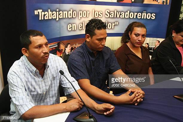 Juan Pablo Cruz Morales Walter Alexander Alan and Nohemi Estela Martinez participate in a press conference upon their arrival at El Salvador...