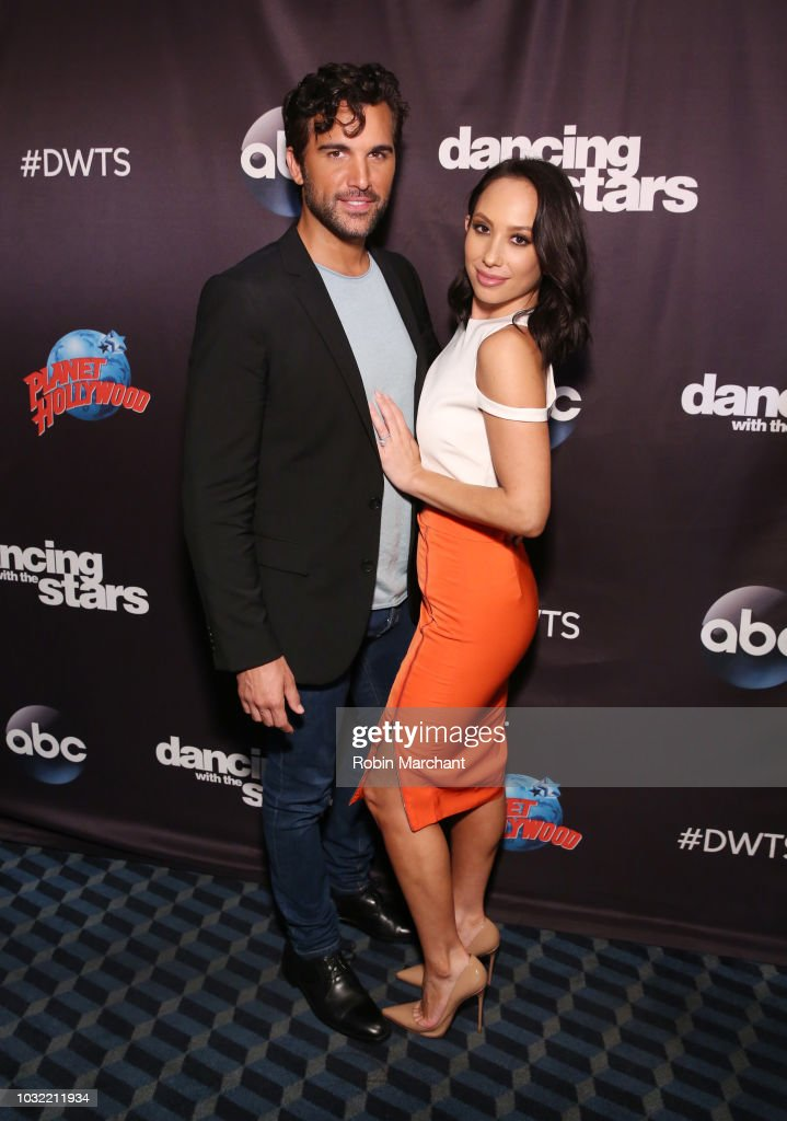Juan Pablo Di Pace and Cheryl Burke attend Dancing With The Stars Season 27 Cast Reveal Red Carpet At Planet Hollywood Times Square at Planet Hollywood Times Square on September 12, 2018 in New York City.