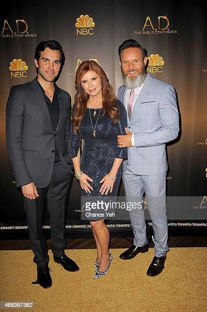 Juan Pablo Di Pace Roma Downey and Mark Burnett attend 'AD The Bible Continues' New York Premiere Reception at The Highline Hotel on March 31 2015 in...