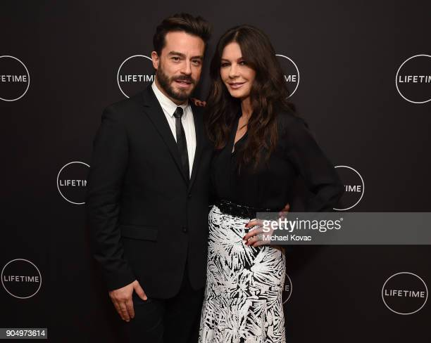 Juan Pablo Espinosa and Catherine ZetaJones attend AE Networks' 2018 Winter Television Critics Association Press Tour at The Langham Huntington Hotel...