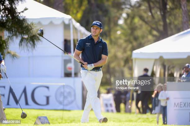 Juan Pablo Hernández of Mexico tee off on the 17th hole during the final round of the PGA TOUR Latinoamerica 59º Abierto Mexicano de Golf at Club...