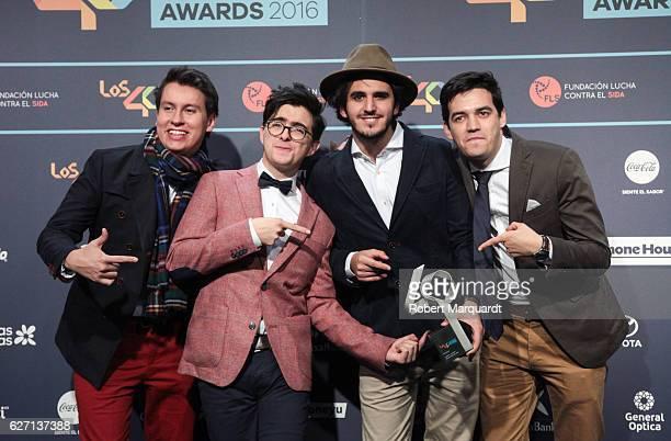 Juan Pablo Isaza Alejandro Posada Juan Pablo Villamil and Simon Vargas of Morat pose backstage after receiving an award at the Los 40 Music Awards...