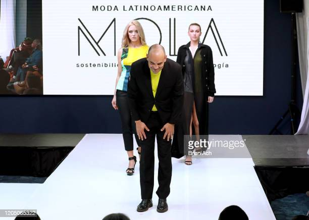 Juan Pablo Martinez walks the runway for NYFW Powered By hiTechMODA on February 08, 2020 in New York City.