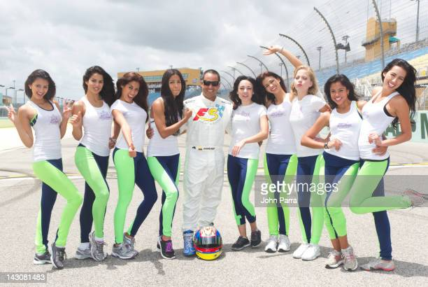 Juan Pablo Montoya and the last 9 finalist from Nuestra Belleza Latina are taken on a high speed ride at HomesteadMiami Speedway on April 18 2012 in...