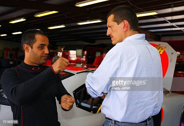 Juan Pablo Montoya driver for Ganassi racing talks with Guenther Steiner VP of Competition for Red Bull Toyota during NASCAR car of tomorrow testing...