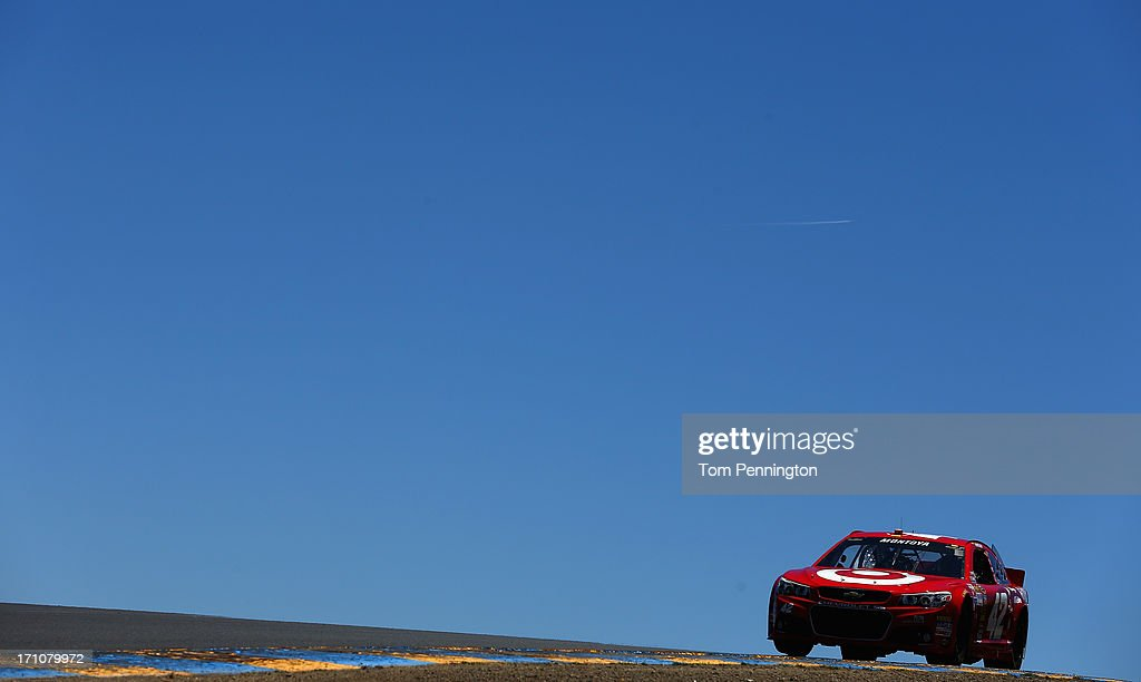 Juan Pablo Montoya, driver of the #42 Target Chevrolet, drives during practice for the NASCAR Sprint Cup Series Toyota/Save Mart 350 at Sonoma Raceway on June 21, 2013 in Sonoma, California.