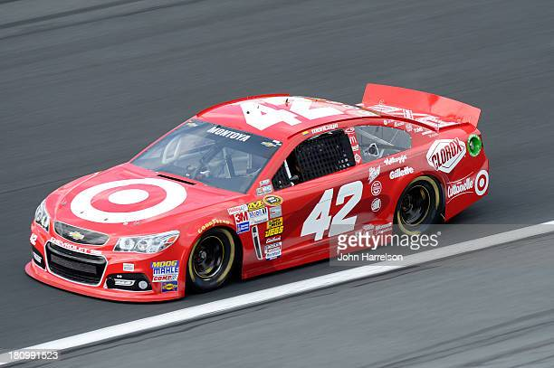 Juan Pablo Montoya driver of the Target Chevrolet during practice for the NASCAR Sprint Cup Series CocaCola 600 at Charlotte Motor Speedway on May 23...