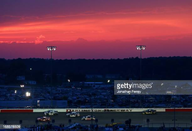 Juan Pablo Montoya driver of the Target Chevrolet leads a pack of cars during the NASCAR Sprint Cup Series Bojangles' Southern 500 at Darlington...