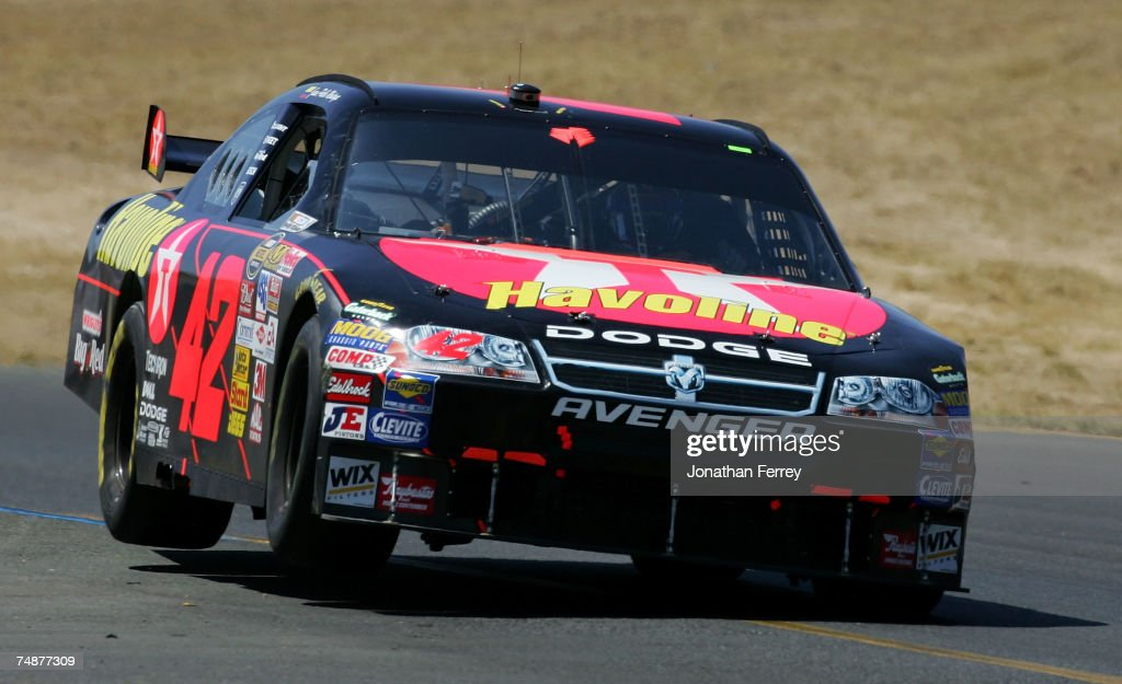 Juan Pablo Montoya, driver of the #42 Texaco/Havoline Dodge, drives during the NASCAR Nextel Cup Series Toyota/Save Mart 350 at Infineon Raceway on June 24, 2007 in Sonoma, California.