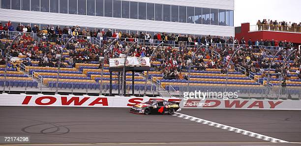 Juan Pablo Montoya driver of the TexacoHavoline Dodge led several laps eraly in the ARCA RE/MAX Series Prairie Meadows 250 on October 15 2006 at Iowa...