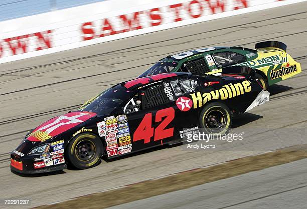 Juan Pablo Montoya drives the Texaco /Havoline Dodge during the Nascar Busch Series Sam's Town 250 at Memphis Motorsports Park on October 28 2006 in...