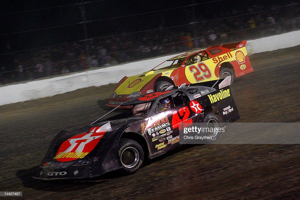 Juan Pablo Montoya #42 leads Kevin Harvick #29 during the Nextel Prelude to the Dream on June 6, 2007 at Eldora Speedway in New Weston, Ohio.