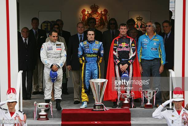 Juan Pablo Montoya of Columbia and McLaren-Mercedes, Prince Albert II of Monaco, Fernando Alonso of Spain and Renault, David Coulthard of Great...