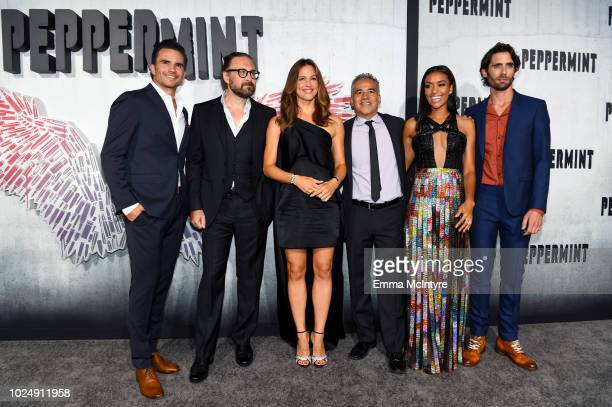 Juan Pablo Raba Pierre Morel Jennifer Garner John Ortiz Annie Ilonzeh and Tyson Ritter attend the premiere of STX Entertainment's 'Peppermint' at...