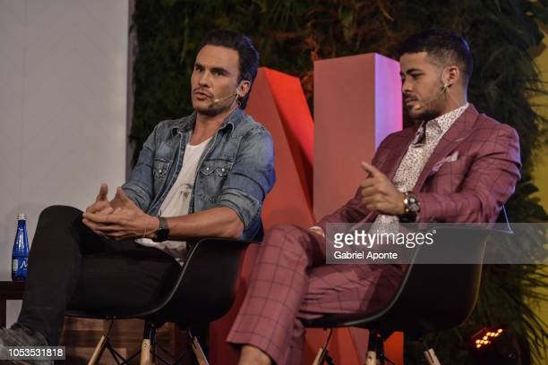 Juan Pablo Raba speaks next to Christian Navarro during Netflix Slate Event 2018 at JW Marriot on October 9 2018 in Bogota Colombia