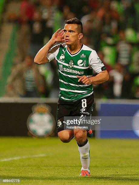 Juan Pablo Rodriguez of Santos celebrates after scoring the first goal of his team during a match between Santos Laguna and Xolos as part of the...