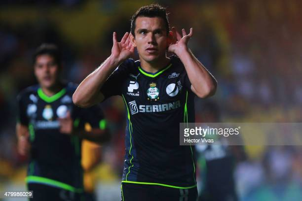 Juan Pablo Rodriguez of Santos celebrates the second goal of his team during a match between Morelia and Santos Laguna as part of the 12th round...
