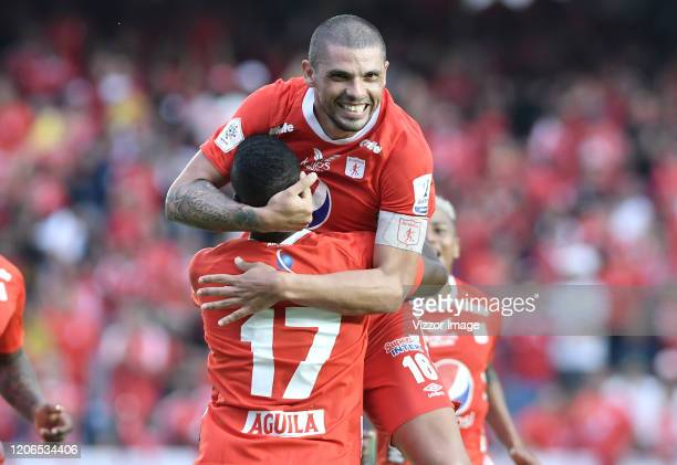 Juan Pablo Segovia of America celebrates after scoring the second goal of his team during a match between America de Cali and Independiente Medellin...