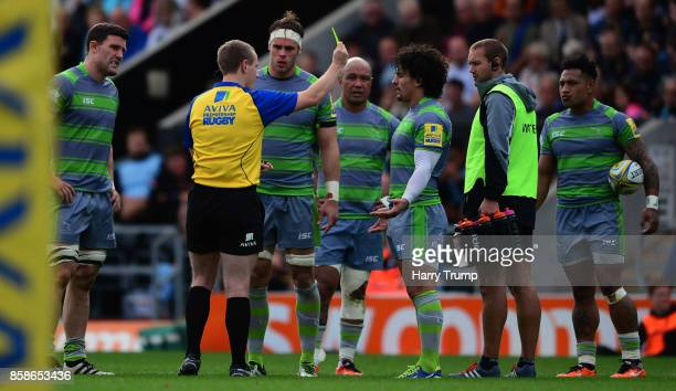Juan Pablo Socino of Newcastle Falcons is shown a yellow card during the Aviva Premiership match between Exeter Chiefs and Newcastle Falcons at Sandy...
