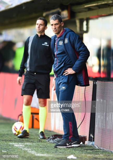 Juan Pablo Vojvoda coach of Talleres looks on during a match between Boca Juniors and Talleres as part of Superliga Argentina 2018/19 at Estadio...
