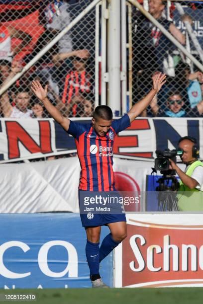 Juan Palacios of San Lorenzo celebrates after scoring the first goal of his team during a match between San Lorenzo and Velez as part of Superliga...