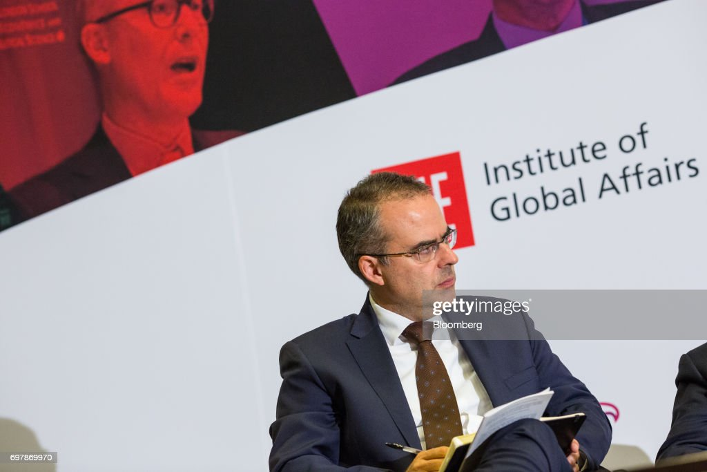 Juan Pardinas, director of the Mexican Institute for Competitiveness (IMCO), listens while moderating a panel during the International Economic Association (IEA) World Congress event in Mexico City, Mexico, on Monday, June 19, 2017. The theme of the congress is Globalization, Growth and Sustainability. Photographer: Brett Gundlock/Bloomberg via Getty Images