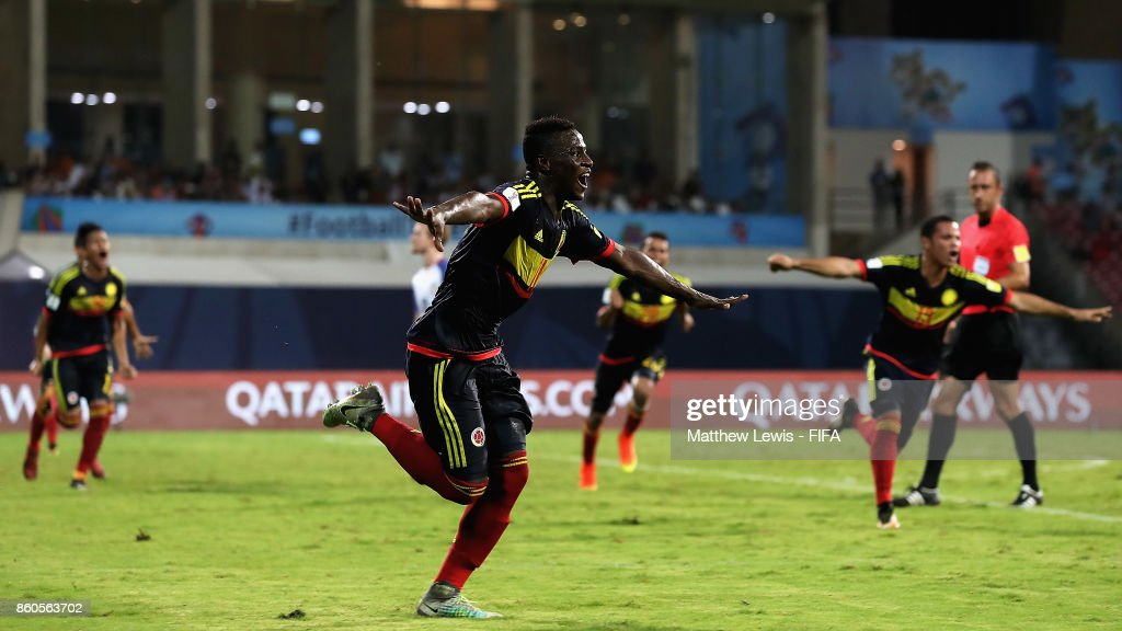 Juan Penaloza of Colombia celebrates his goal, after he scores from a free kick during the FIFA U-17 World Cup India 2017 group B match between USA and Colombia at Dr DY Patil Cricket Stadium on October 12, 2017 in Mumbai, India.