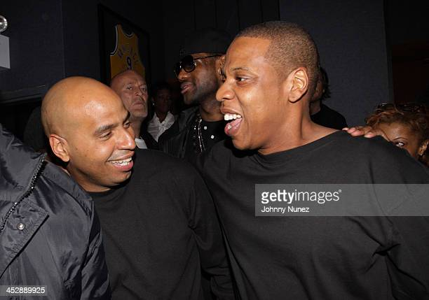 OG Juan Perez LeBron James and JayZ attend JayZ's Official Madison Square Garden Concert After Party at the 40 / 40 Club on March 2 2010 in New York...
