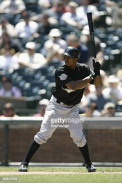 Juan Pierre of the Florida Marlins bats during the game against the San Francisco Giants at SBC Park on April 29 2004 in San Francisco California The...