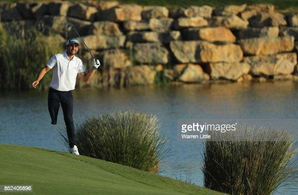 Juan Postigo in action during the EDGA competition follwoing the third round of the Portugal Masters at the Dom Pedro Victoria Golf Club on September...