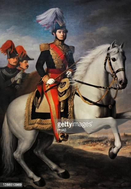 Juan Prim . Spanish military and politician. Equestrian portrait of General Prim, 1844. By Antonio Maria Esquivel y Suarez de Urbina . Museum of...