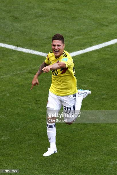 Juan Quintero of Colombia celebrates after scoring his team's first goal during the 2018 FIFA World Cup Russia group H match between Colombia and...