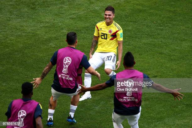 Juan Quintero of Colombia celebrates with teammates after scoring his team's first goal during the 2018 FIFA World Cup Russia group H match between...