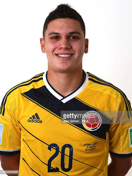 Juan Quintero of Colombia poses during the official FIFA World Cup 2014 portrait session on June 9 2014 in Sao Paulo Brazil