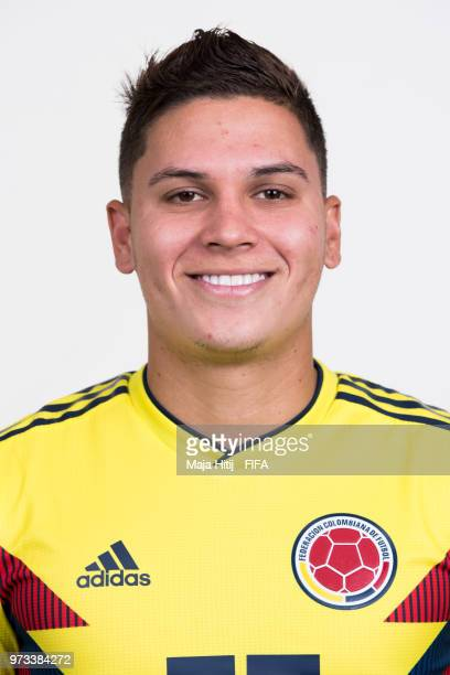 Juan Quintero of Colombia poses for a portrait during the official FIFA World Cup 2018 portrait session at Kazan Ski Resort on June 13 2018 in Kazan...