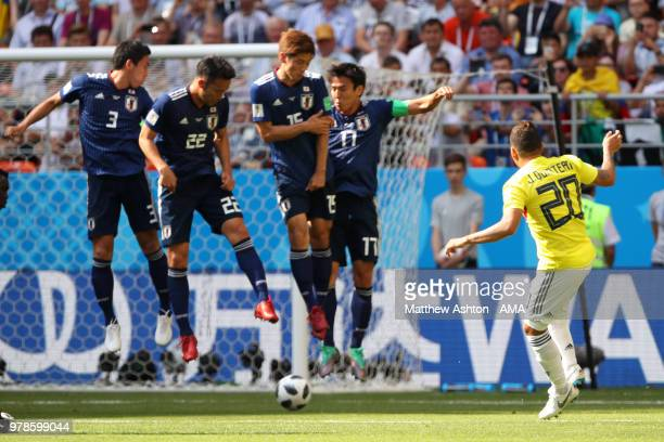 Juan Quintero of Colombia scores a goal to make it 11 during the 2018 FIFA World Cup Russia group H match between Colombia and Japan at Mordovia...
